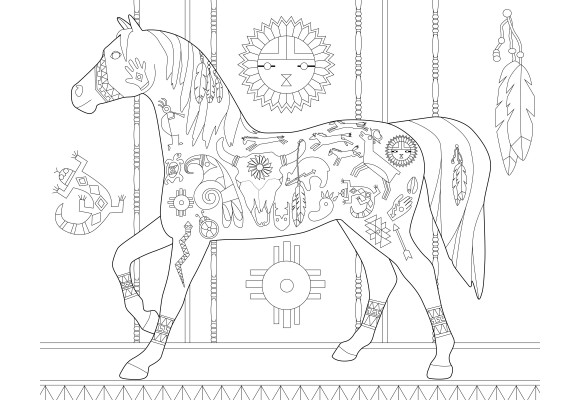 The Trail Of Painted Ponies - The Trail Of Painted Ponies Adult Coloring  Book - Native American Edition - Coloring Books - BOOKS & COLORING BOOKS