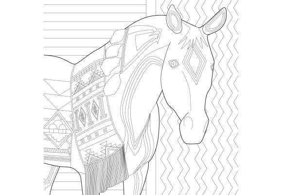 Nez Perce Native American on Appaloosa Horse Coloring Page | 400x580